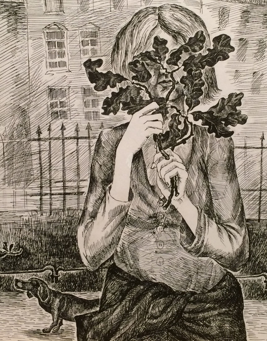 Gathering Leaves at the Park. 2010. Pen and ink on paper.