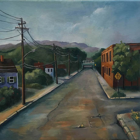 Low Bridge Over Grove Street. 2018. Oil on canvas.