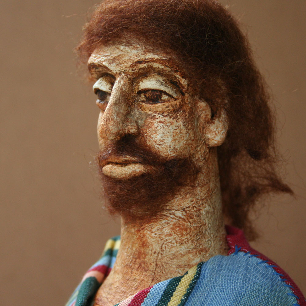 Apostle Andrew. 2014. Papier-mache, painted with acrylics, wool, fabric scraps.