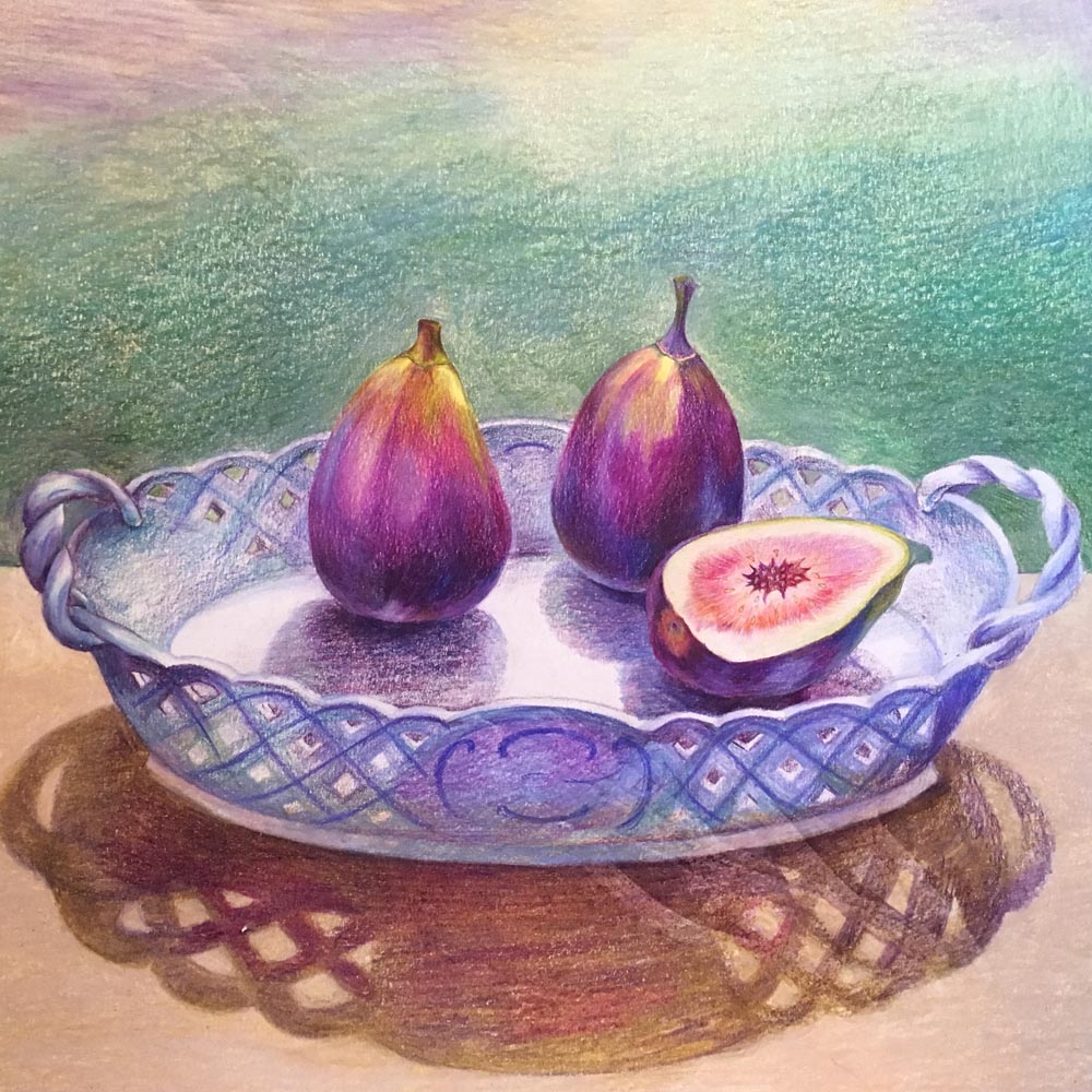Figs in a Meissen Basket, 2018. Colored pencils on paper.
