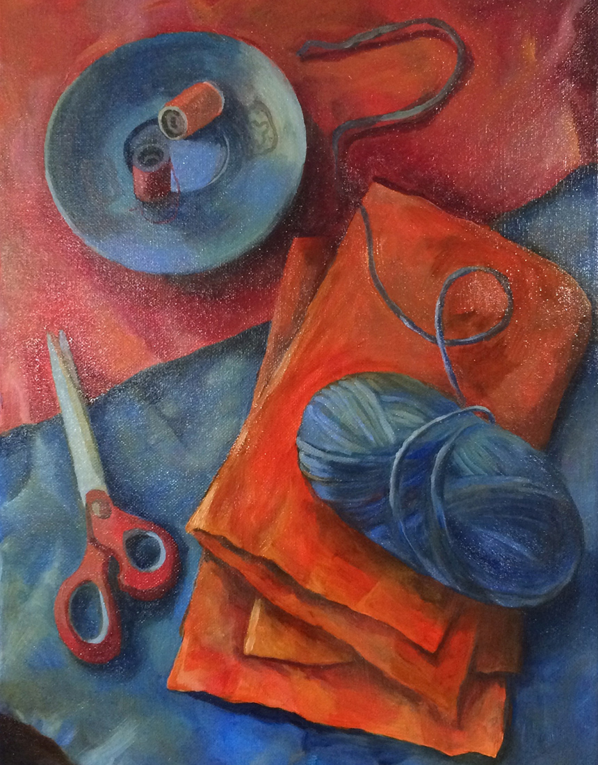Still life in primary red and blue. 2017. Oil on canvas.