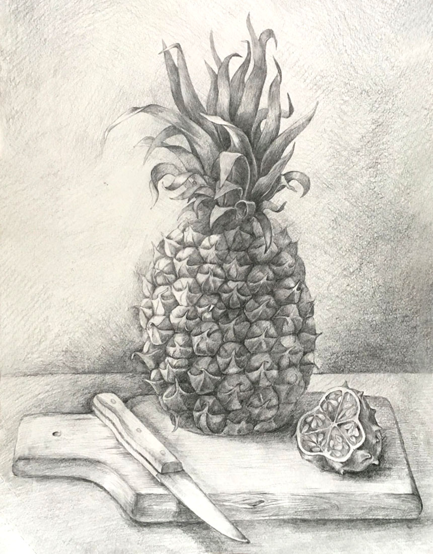 Still Life with a Pinapple and Kiwano. 2018. Graphite pencil on paper