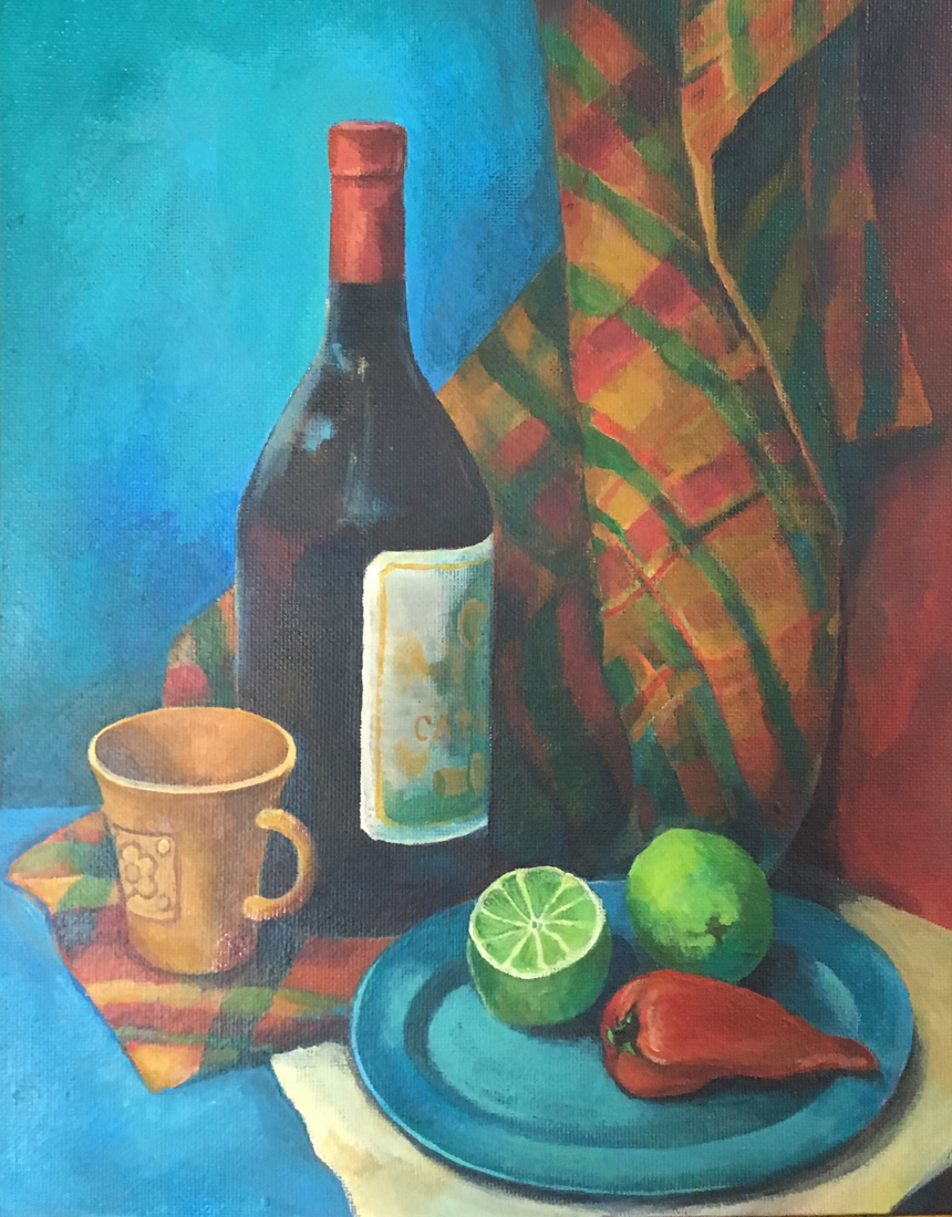 Still Life with a Bottle of Wine. 2017. Acrylics on canvas